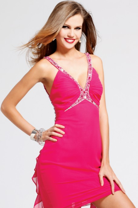 Hot Pink V Neck Open Back A Line Short Mini Sexy Dresses With Sequins And Ruffles