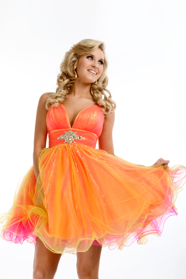 Neon Orange Short Mini Length Spaghetti Strap And V Neck Low Back A Line Sexy Dresses With Sequins And Ruffles