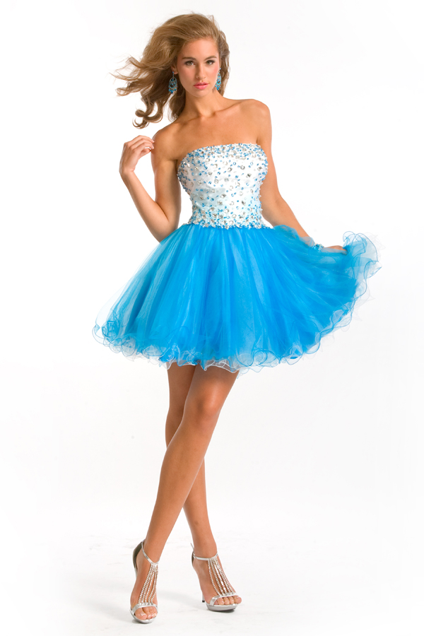 Turquoise And White Short Mini Strapless Ball Gown Tulle Sexy Dresses With Beads