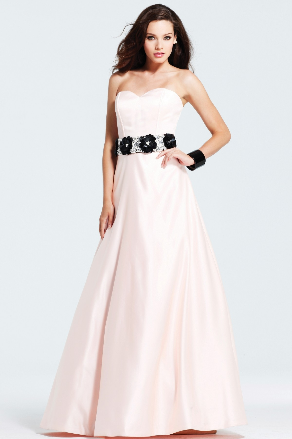 Paint Pink A Line Strapless Sweetheart Floor Length Sexy Dresses With Flower Belt