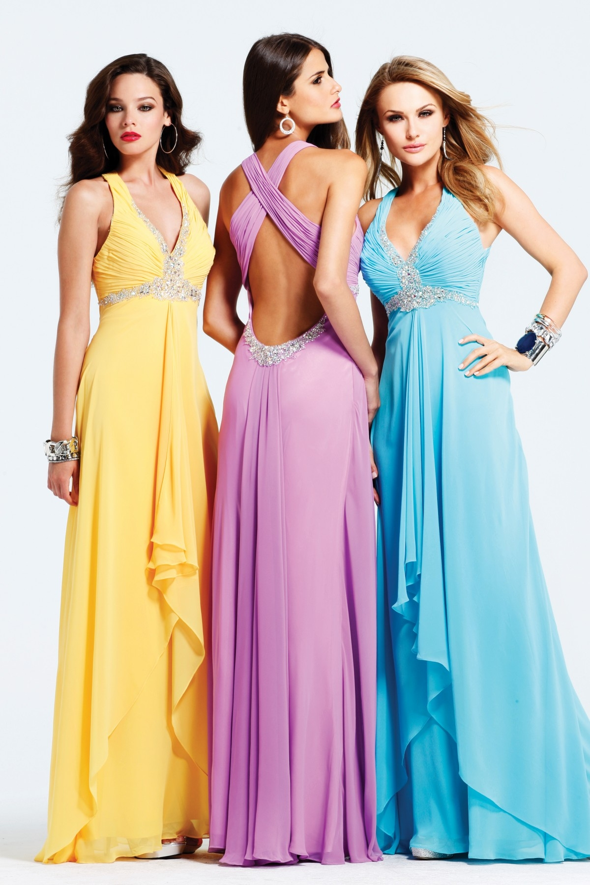 Yellow Lilac Blue V Neck Cross Back Floor Length Column Sexy Dresses With Sequins