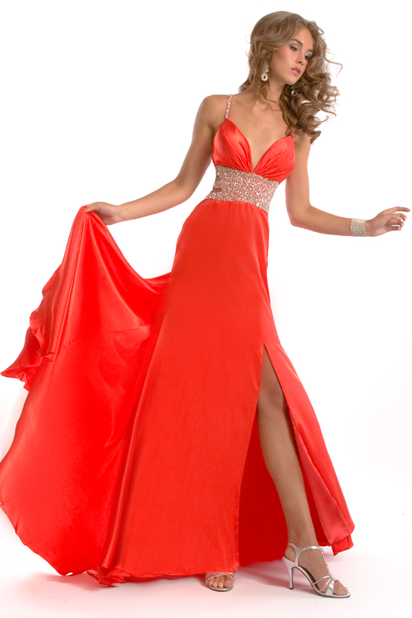 Scarlet Empire Spaghetti Stripes And V Neck Open Back Floor Length Sexy Dresses With Sequined Belt