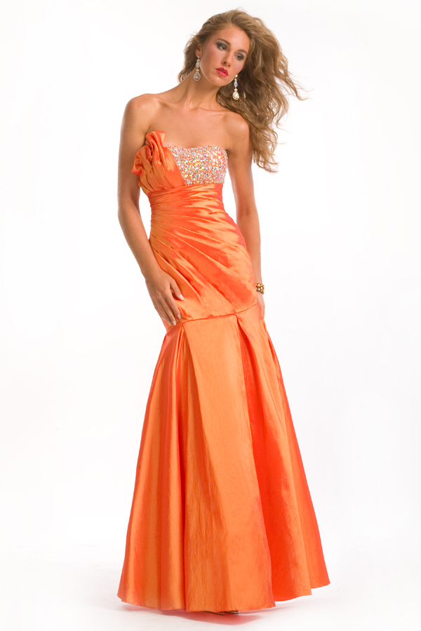 Orange Sweetheart Strapless Floor Length Mermaid Sexy Dresses With Beads And Ruches