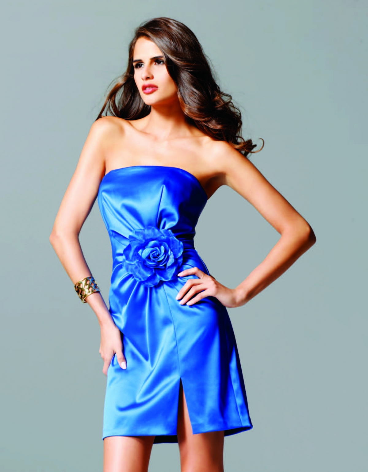 Blue Short Mini Length Strapless Side Slit Column Sexy Dresses With Hand Made Flower