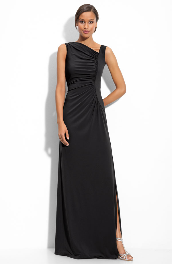 Black A Line Sleeveless Asymmetrical Neckline Floor Length Prom Dresses With High Slit