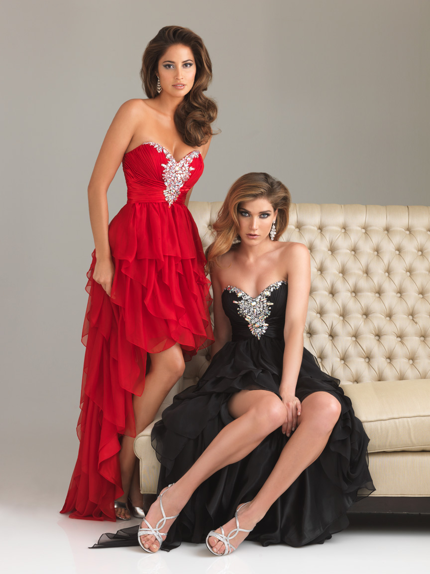 Black A Line Strapless Sweetheart Sweep Train Hi Low Tiered Graduation Dresses With Beading And Ruffles