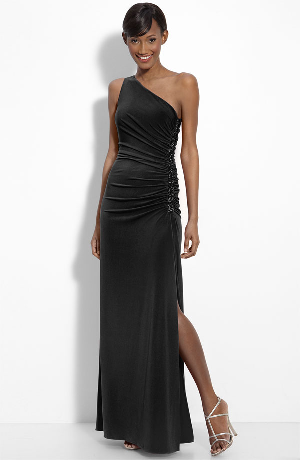 Black Column One Shoulder Full Length Chiffon Prom Dresses With Beading And Side Slit