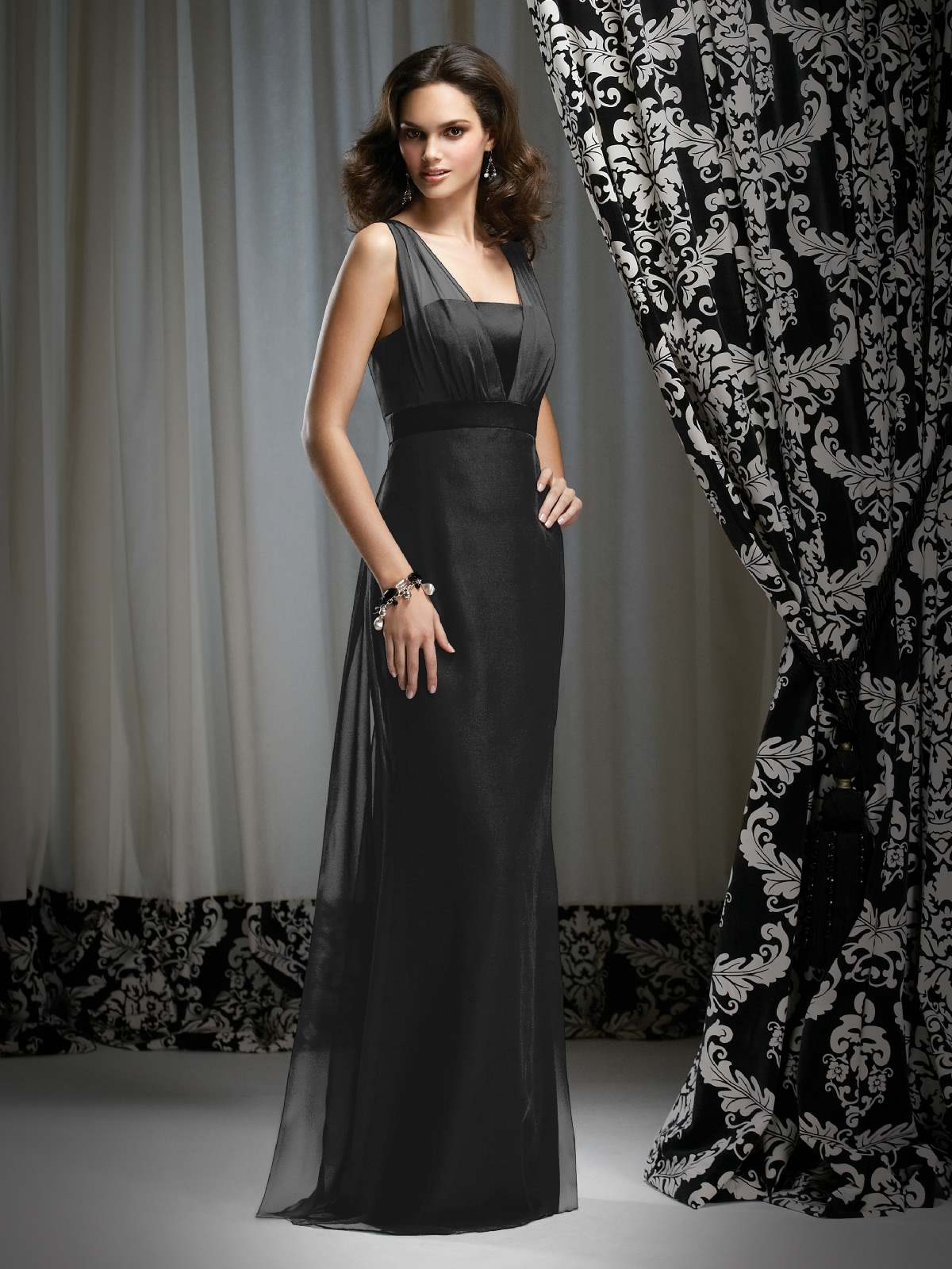 Elegant Black Column Strap Floor Length Satin Prom Dresses With Sash