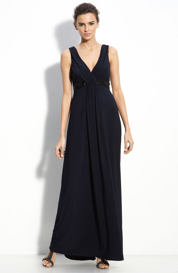Black Sheath Column V Neck Ankle Length Zipper Chiffon Bridesmaid Dresses