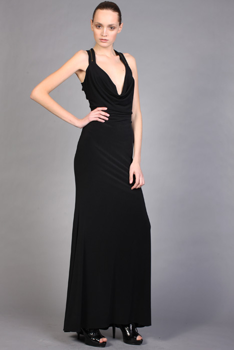 Black Sheath Column Halter V Neck Floor Length Chiffon Evening Dresses With Ruffles