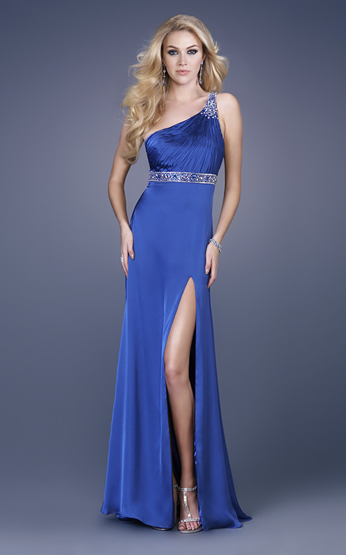Royal Blue A Line One Shoulder Open Back High Slit Sweep Train Sequined Floor Length Evening Dresses