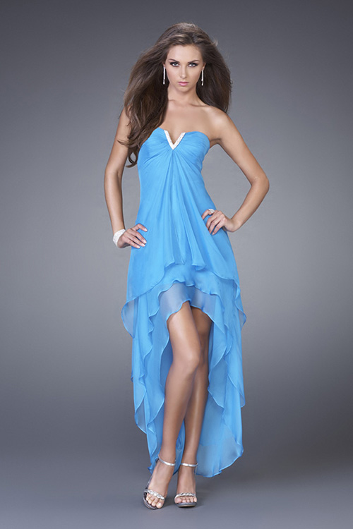 Turquoise A Line Strapless And V Neck Low Back Hi Low Tiered Graduation Dresses