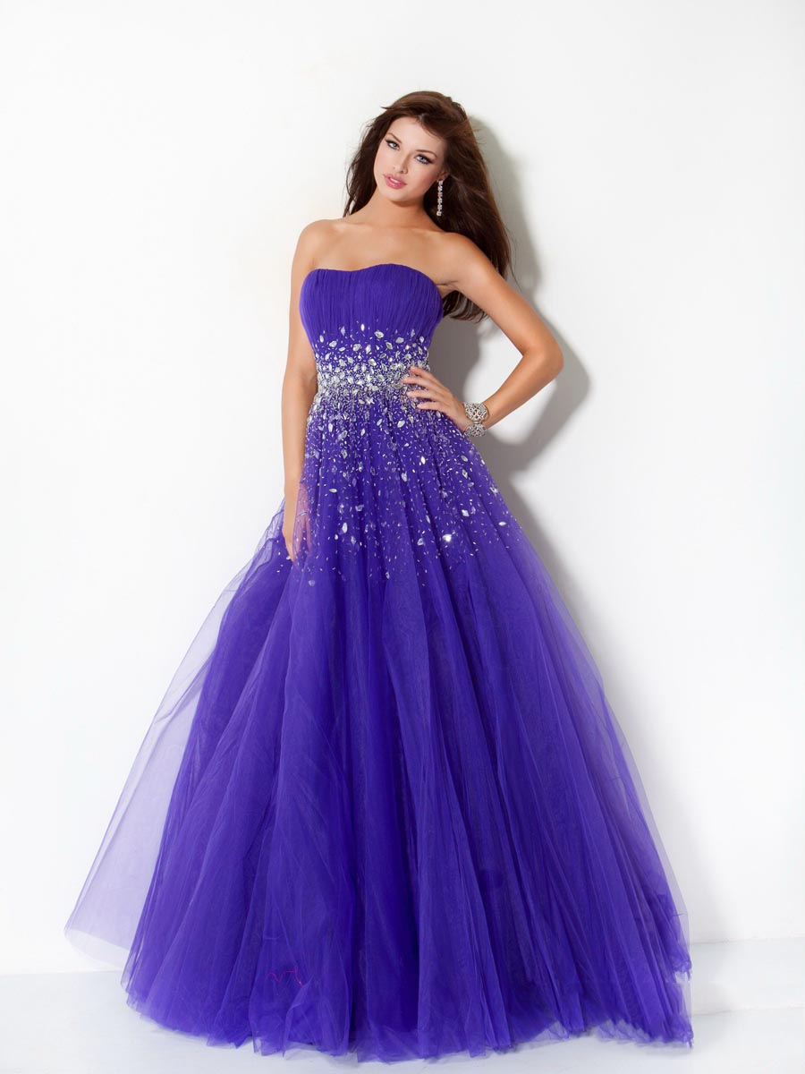 Blue A Line Strapless Floor Length Zipper Tulle Prom Dresses With Sequins