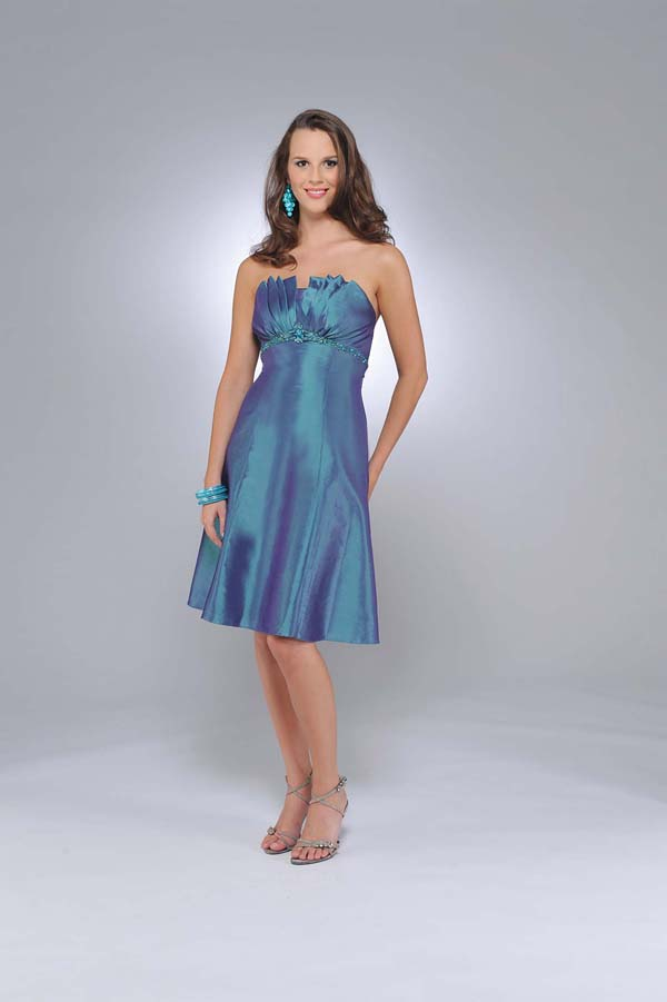 Blue A Line Strapless Zipper Knee Length Prom Dresses With Ruches And Beading