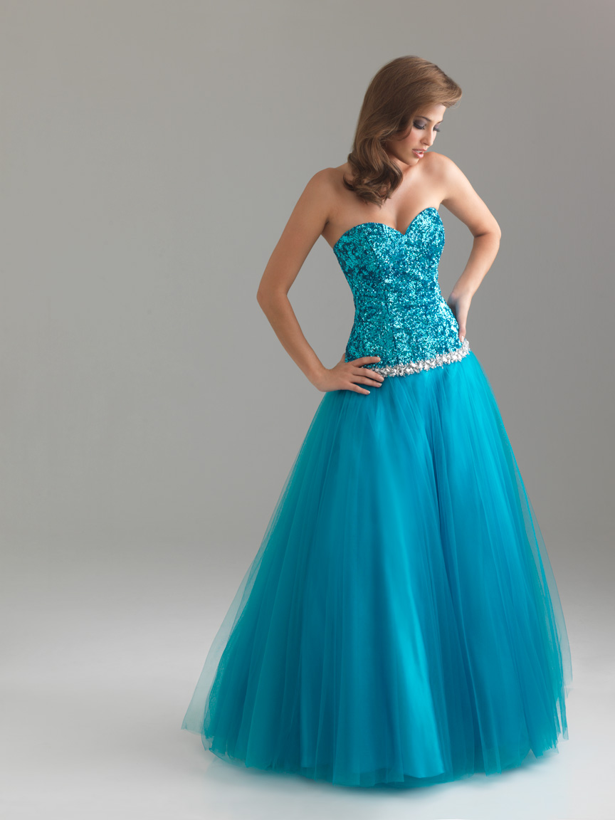 Blue A Line Sweetheart Full Length Zipper Prom Dresses With Sequins And Tulle