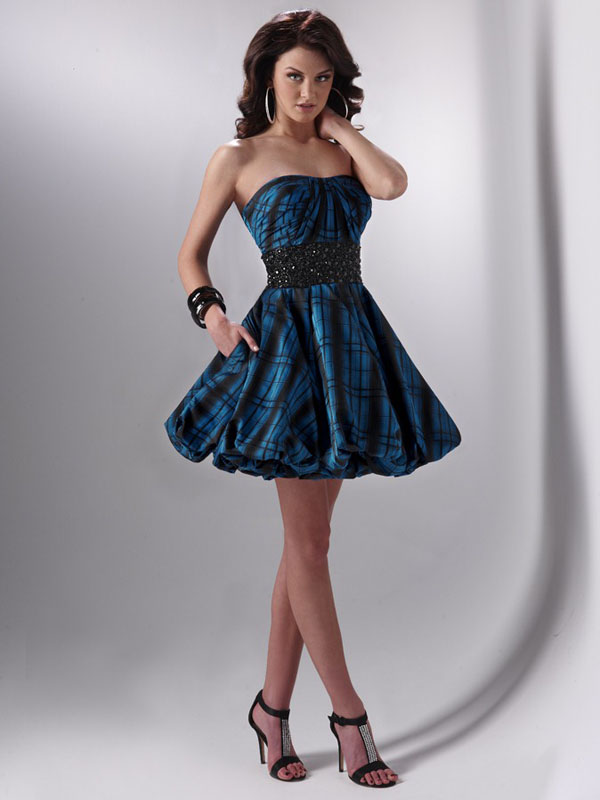 Blue And Black A Line Strapless Sweetheart Lace Up Short Mini Cocktail Dresses With Beading Waist