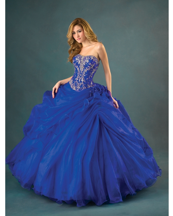 Royal Blue Ball Gown Strapless Lace Up Full Length Quinceanera Dresses With Embroidery And Ruffles