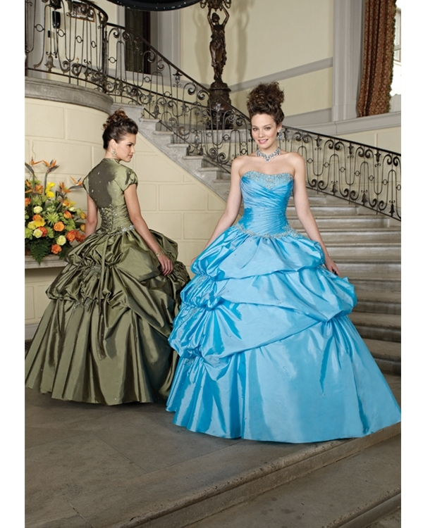 Strapless Lace Up Floor Length Turquoise Ball Gown Quinceanera Dresses With Sequins And Ruffles