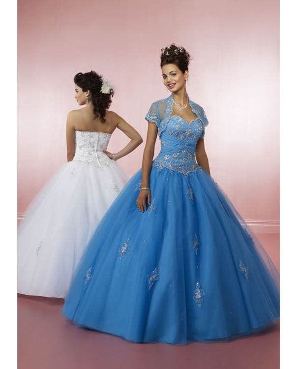 Blue Ball Gown Strapless Sweetheart Zipper Floor Length Embroidered Quinceanera Dresses