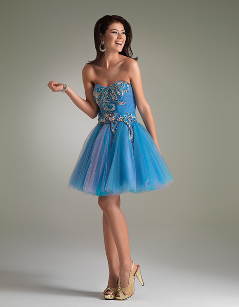 Blue A Line Sweetheart Knee Length Zipper Cocktail Dresses With Beads