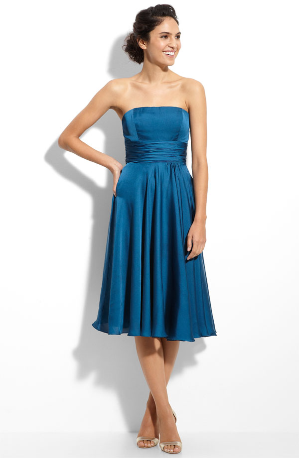 Blue Column Strapless Tea Length Zipper Pleated Satin Bridesmaid Dresses