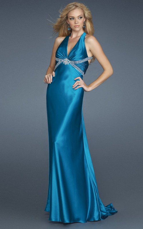 Blue Sheath Deep V Neck Open Back Sweep Train Full Length Empire Evening Dresses With Beading