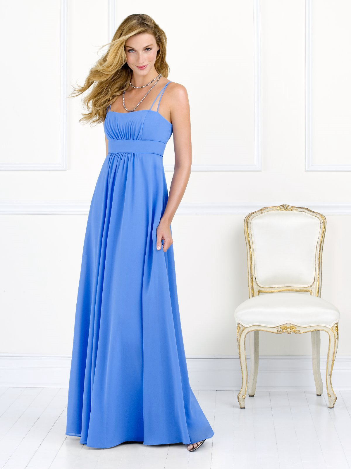 Blue Empire Spaghetti Straps Zipper Pleated Floor Length Chiffon Prom Dresses