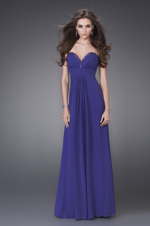 Blue Empire Strapless Sweetheart Low Back Floor Length Evening Dresses With Sequins And Drapes