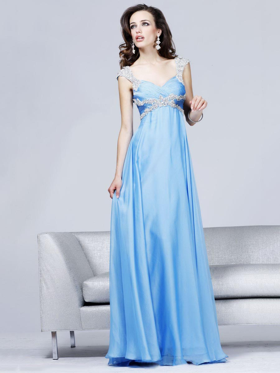 Sky Blue Sheath V Neck Floor Length Zipper Sweep Train Empire Chiffon Evening Dresses With Beads