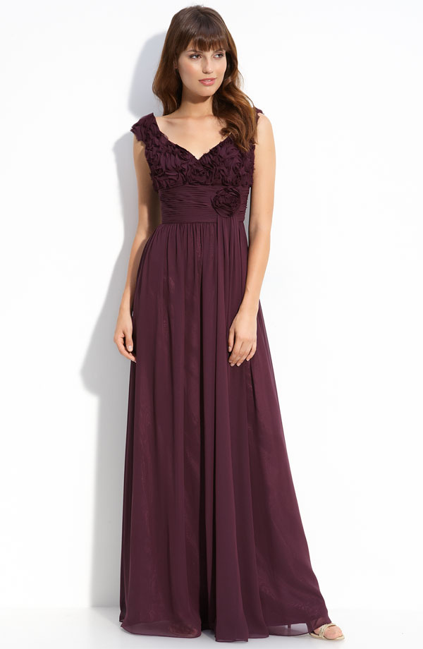 Burgundy A Line Cap Sleeves And V Neck Floor Length Chiffon Prom Dresses With Rosette And Drapes