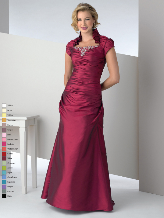 Burgundy Short Sleeve High Neck Zipper Full Length A Line Mother Of Bride Dresses With Beading And Ruffles