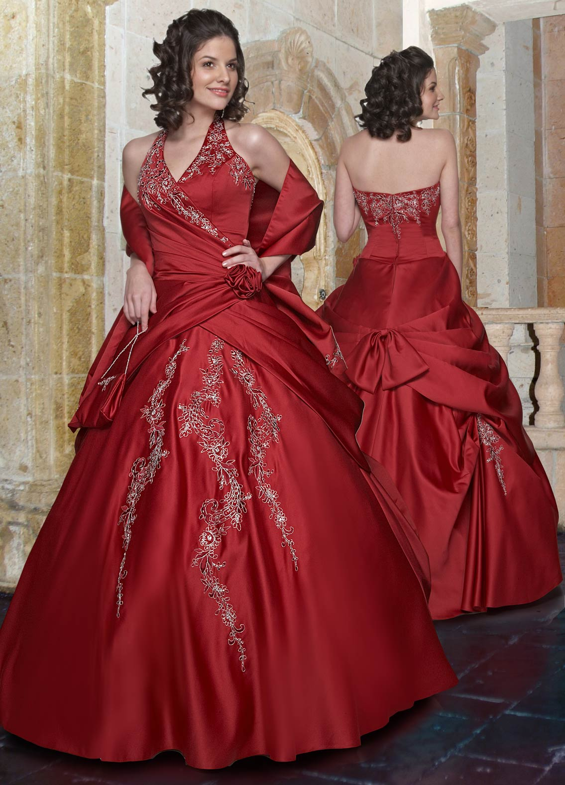 Burgundy Ball Gown Halter And V Neck Zipper Full Length Quinceanera Dresses With Beading Embroidery