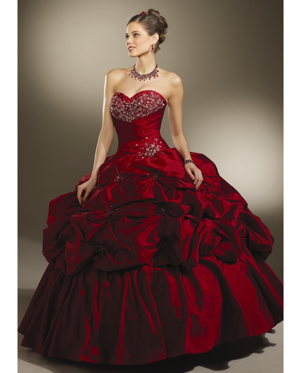 Deep Red Ball Gown Strapless Sweetheart Lace Up Full Length Quinceanera Dresses With Beading And Twist Drapes