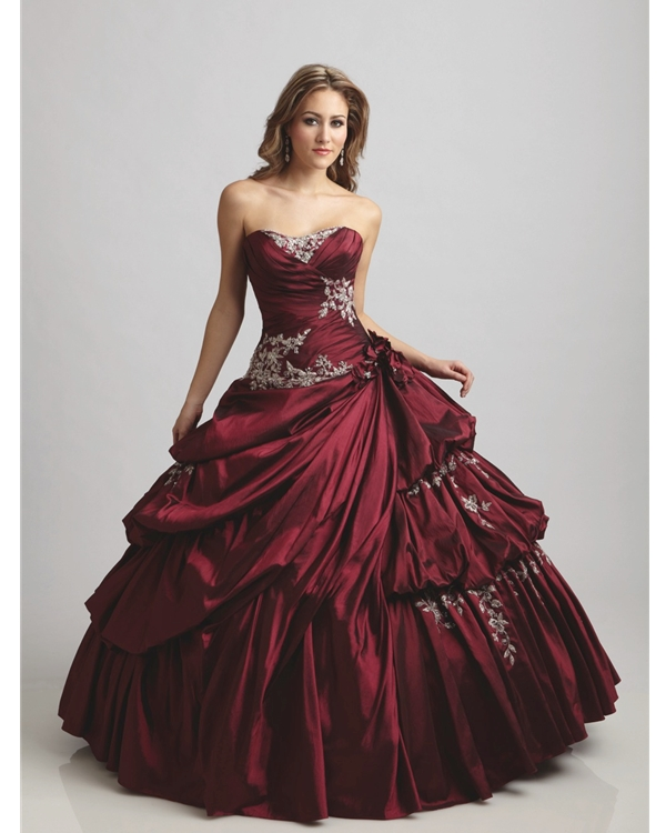 Burgundy Ball Gown Strapless Sweetheart Full Length Quinceanera Dresses With Embroidery And Twist Drapes
