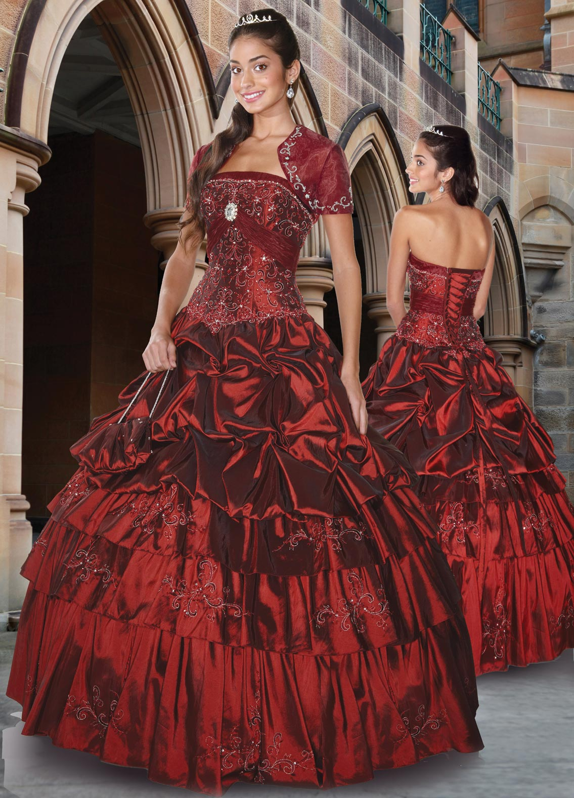 Strapless Lace Up Floor Length Burgundy Ball Gown Embroidered And Ruffled Quinceanera Dresses
