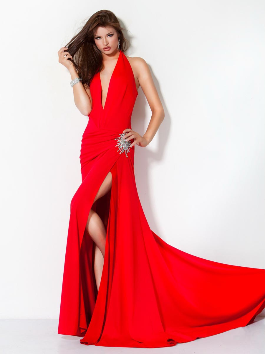 Scarlet Sheath Halter V Neck Floor Length High Slit Sweep Brush Train Chiffon Evening Dresses With Beads