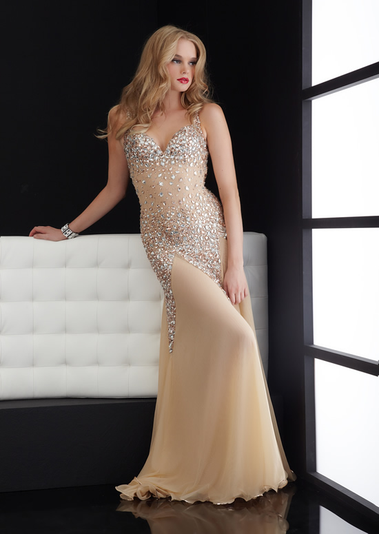 Champagne Column Halter And Sweetheart Open Back Sweep Train Full Length Evening Dresses With Beadings And Sequins
