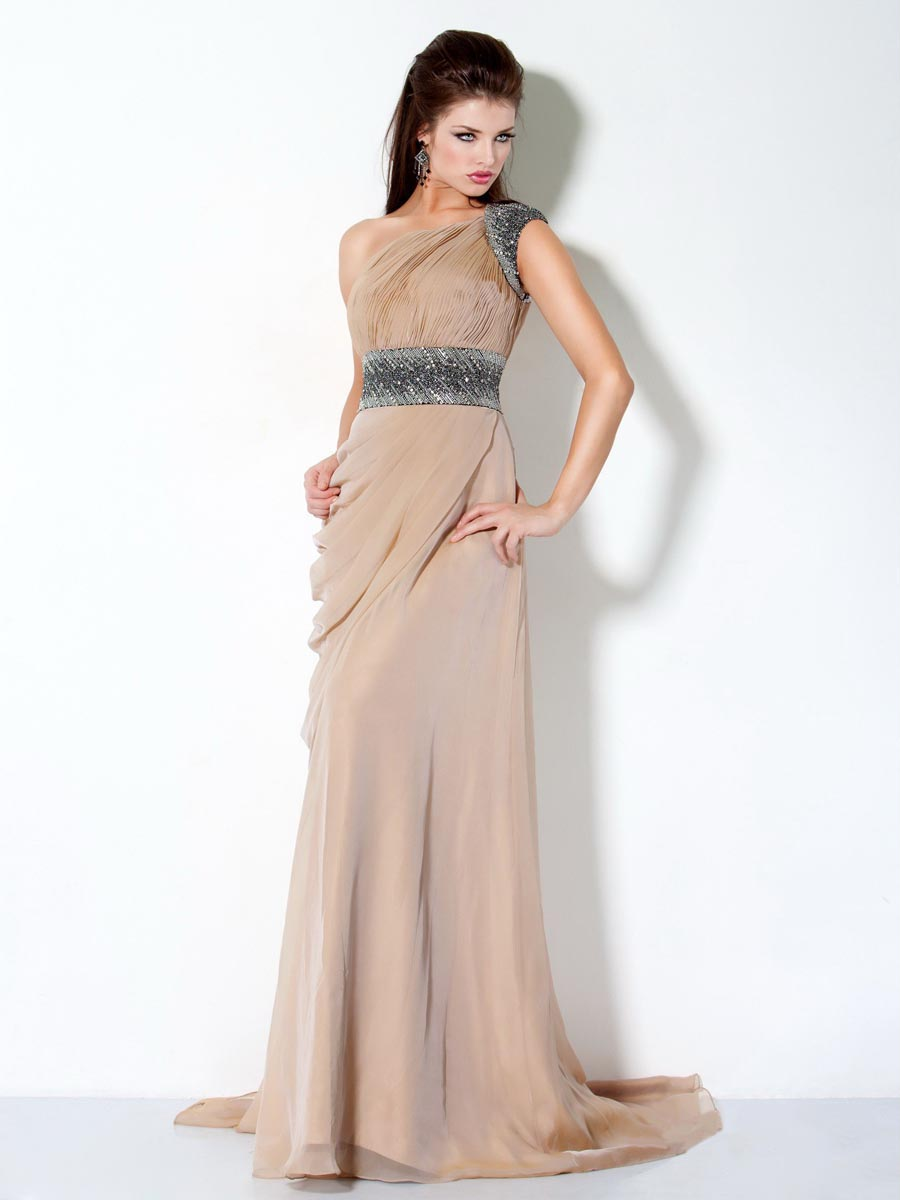 One Shoulder Floor Length Lace Up Sweep Brush Train Champagne Column Evening Dresses With Belt