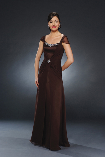 Chocolate Cap Sleeves Square Neck Floor Length Column Mother Of Bride Dresses With Beading And Ruches