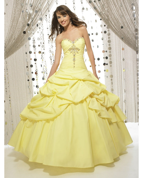 Daffodil Ball Gown Strapless Sweetheart Lace Up Full Length Quinceanera Dresses With Beading And Twist Drapes