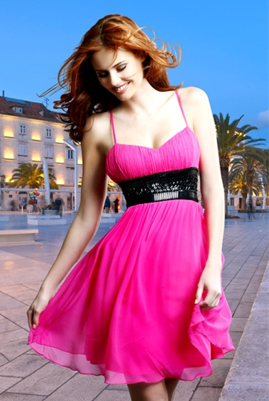 Fuchsia A Line Spaghetti Straps Sweetheart Cross Back Short Mini Graduation Dresses With Black Sequined Belt