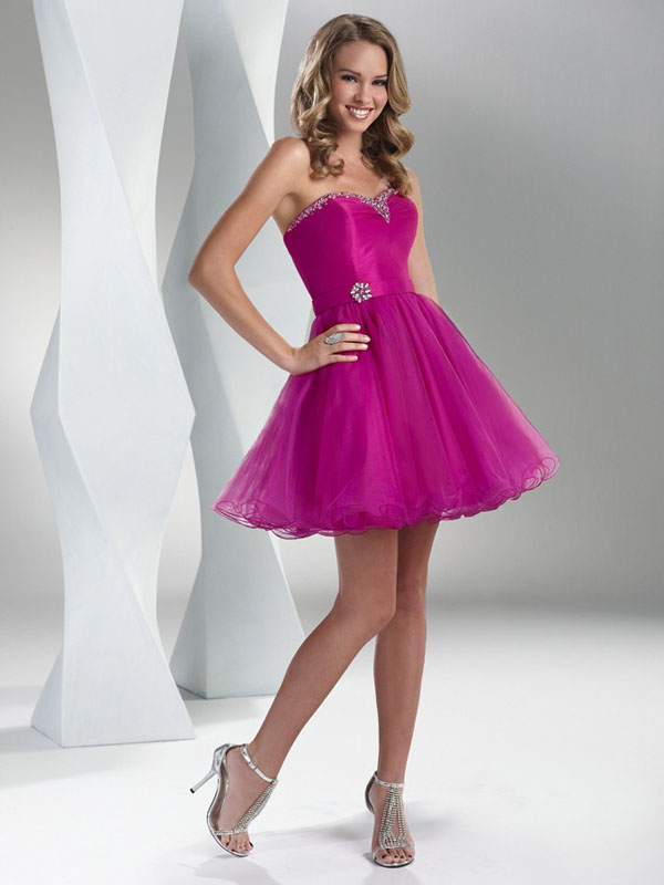 Fuchsia A Line Strapless Sweetheart Lace Up Ruffles Short Mini Tulle Cocktail Dresses