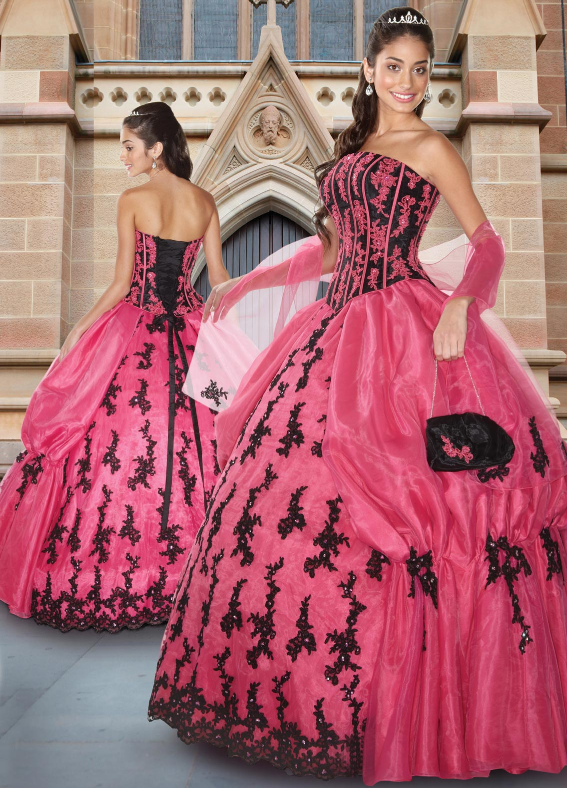 Deep Pink And Black Ball Gown Strapless Full Length Quinceanera Dresses With Appliques And Ruffles
