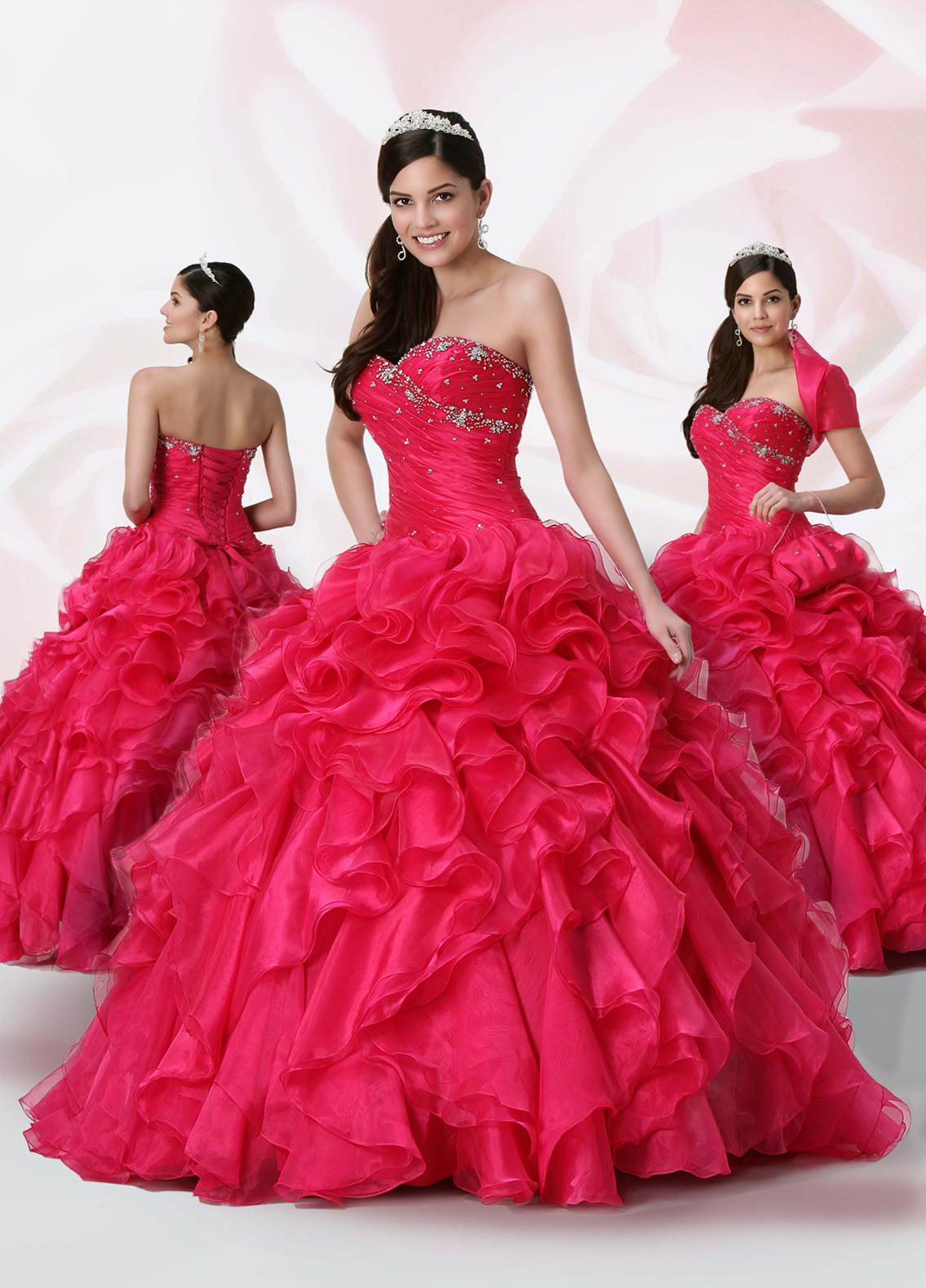 Red Ball Gown Strapless Sweetheart Lace Up Floor Length Quinceanera Dresses With Beading And Ruffles