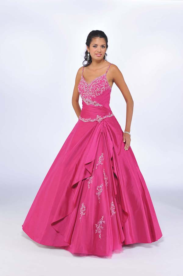 Fuchsia Ball Gown Spaghetti Straps And V Neck Cross Back Full Length Beaded Quinceanera Dresses