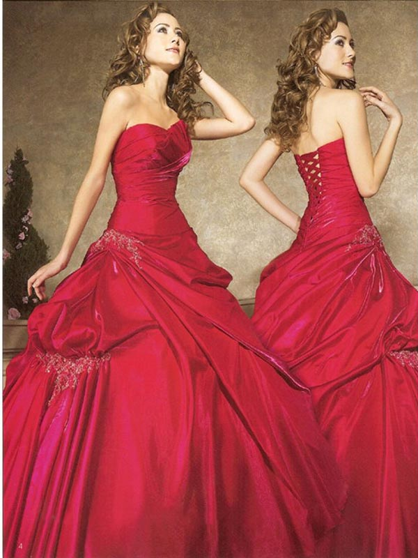 Red Ball Gown Strapless Lace Up Full Length Quinceanera Dresses With Appliques And Ruffles