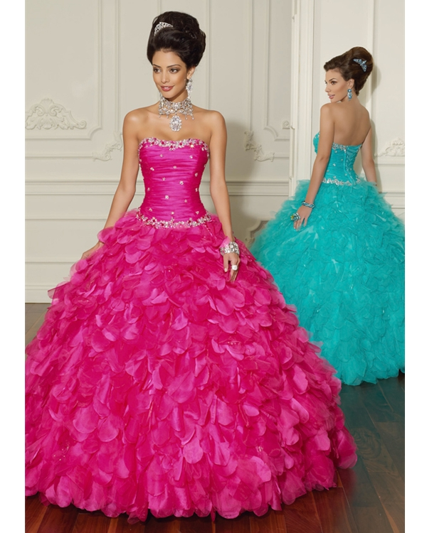 Fuchsia Ball Gown Strapless Lace Up Floor Length Pleated Quinceanera Dresses With Jewel