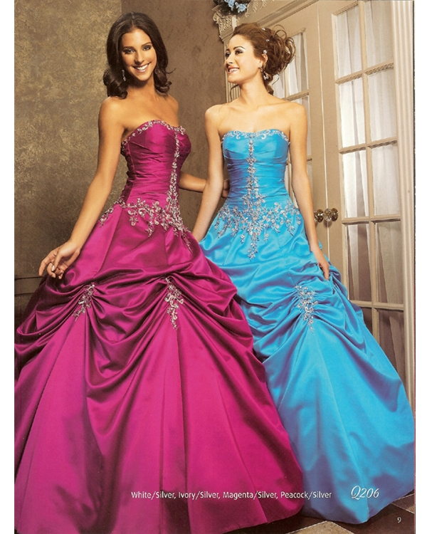 Fuchsia Strapless Floor Length Ball Gown Quinceanera Dresses With Beading And Twist Drapes