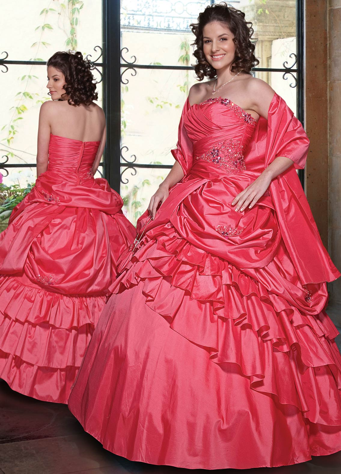 Best Selling Watermelon Ball Gown Strapless Zipper Full Length Ruched Quinceanera Dresses