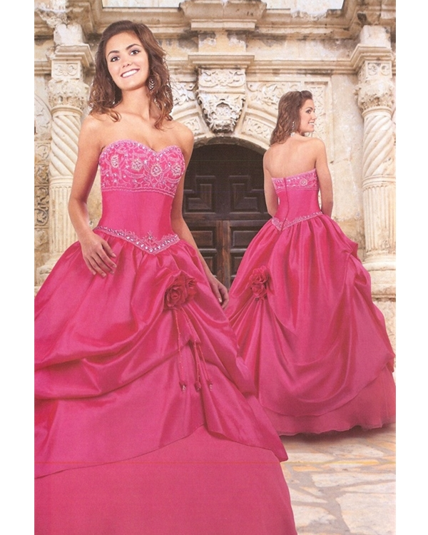 Fuchsia Ball Gown Strapless Sweetheart Zipper Full Length Quinceanera Dresses With Beading Embroidery And Ruffles